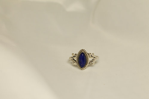 Marquise Lapis Ring In 925 Silver