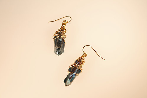 14k Gold-fill Aqua Aura Quartz Earrings