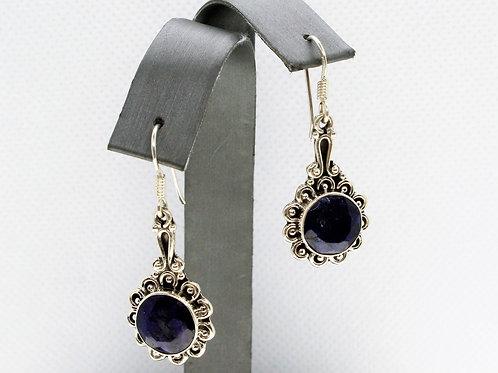 Sterling Silver Dark Blue Sapphire Earrings