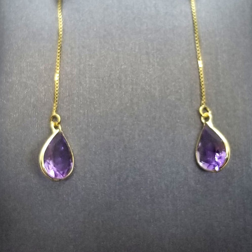 Solid 14k Yellow Gold Amethyst Threader Earrings