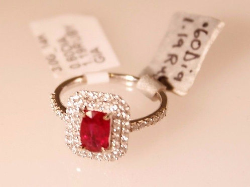 RARE G.I.A. Unheated Natural Ruby & Diamond Ring