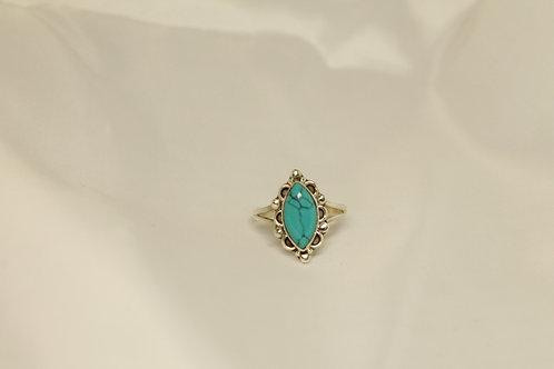 Marquise Turquoise Ring In 925 Silver
