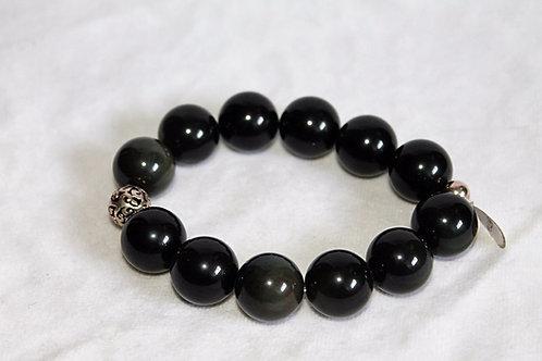 16mm Black Obsidian Healing Crystal Bracelet