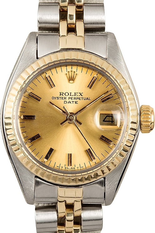 LADIES TWO-TONE VINTAGE ROLEX DATEJUST 6917, CHAMPAGNE DIAL, YEAR 1977