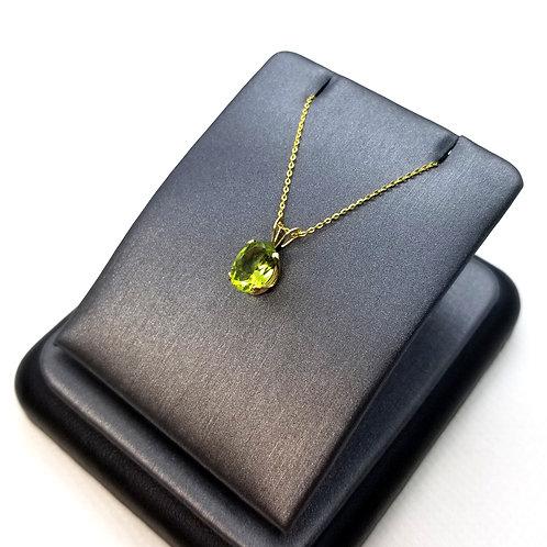 Solid 14k Yellow Gold Peridot Pendant