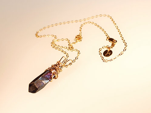 14k Gold-Fill Aqua Aura Quartz Necklace