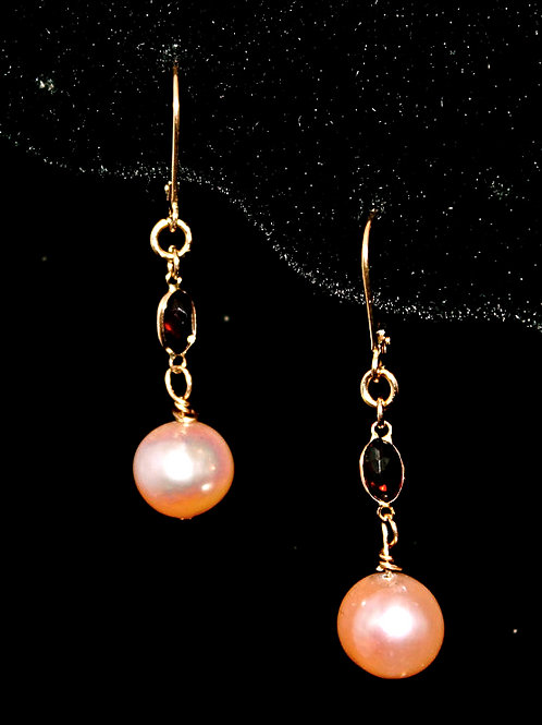 Pink Pearl Earrings with Garnet in 14K Yellow gold