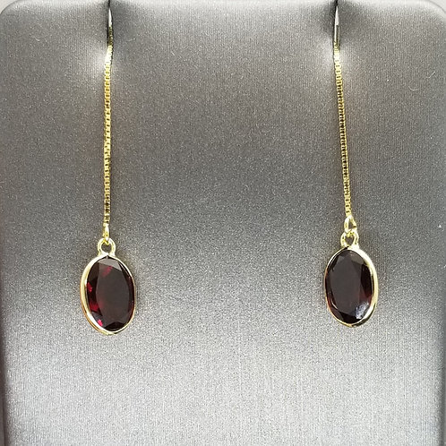 Solid 14k Yellow Gold Garnet Threader Earrings