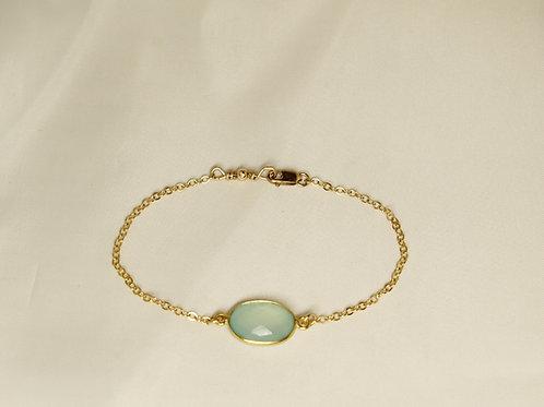 Bezeled Sea Green Chalcedony Bracelet in 14kt Gold Fill