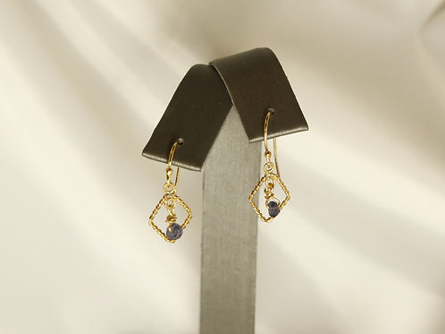 Iolite in Diamond Frame Earrings in 14kt Gold Fill