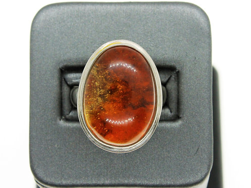 Sterling Silver Cognac Amber Ring (Oval)