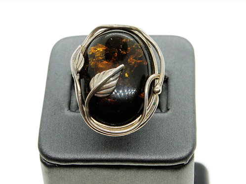 Sterling Silver Green Amber Ring (Oval)