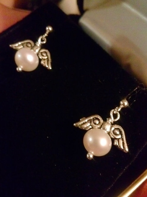 Sterling Silver Angel Freshwater Pearl Studs