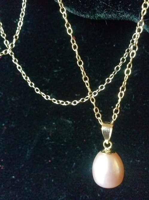 14k Yellow Gold Pink 8.5mm Pearl Teardrop pendant
