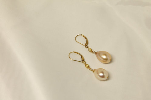 Pink Freshwater & Citrine Earrings in 14kt Solid Gold