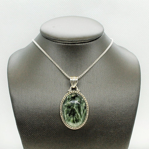 Sterling Silver Seraphinite Pendant (Large Oval)