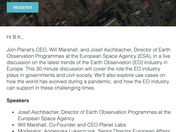 LIVE CHAT: PLANET AND ESA DISCUSS THE SIGNIFICANCE OF EARTH OBSERVATION