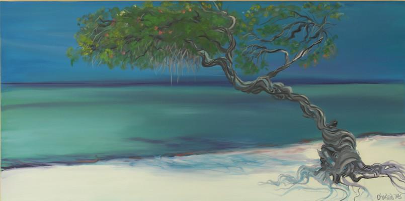 Beach Palm - pigment on canvas