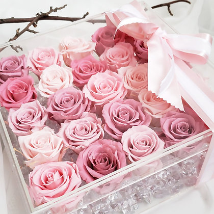 UN-0222 Twelve-five Roses in an Acrylic Box (Red & Pink)