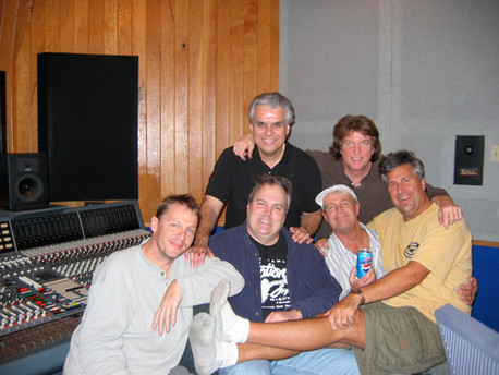 Brian in the studio with Terry Miller, Tom Brechline, Jerry Cortez, Russell Bond and Donny Marrow.