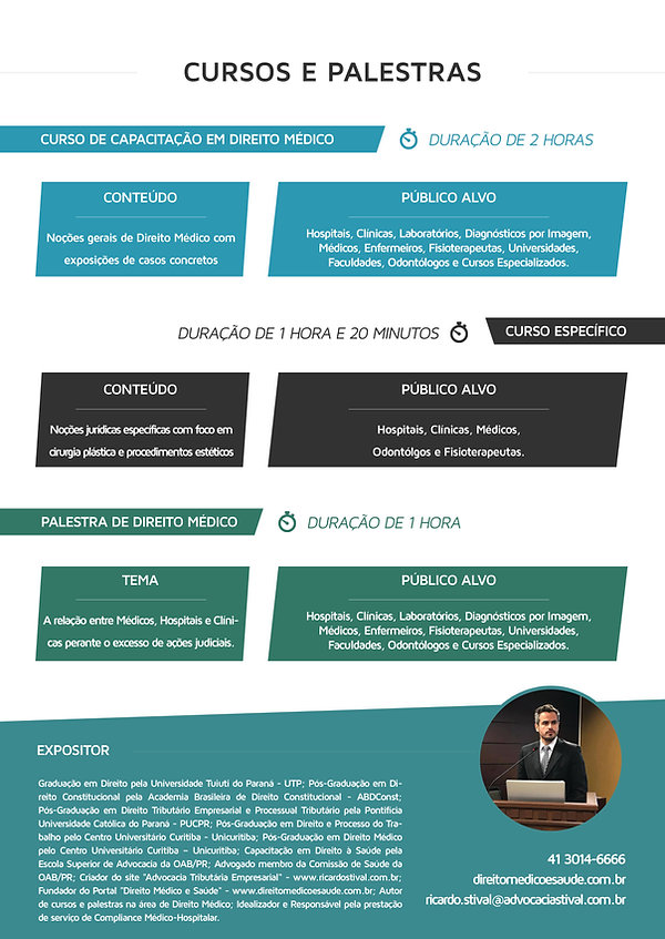 Cursos e Palestras - Advogado Direito Médico