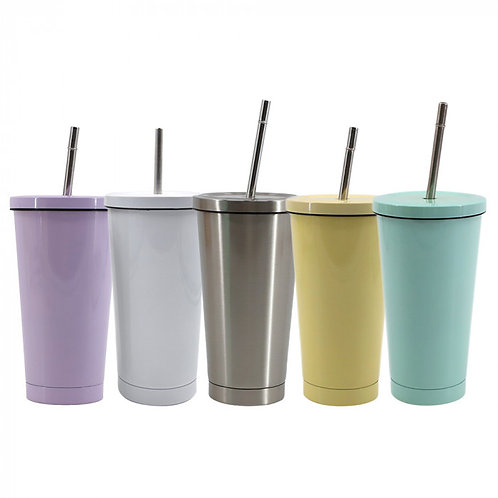 15oz Stainless Steel Tumbler w/ Lid & Straw