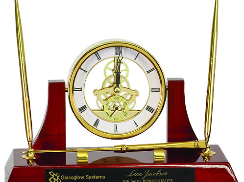 Executive Rosewood Piano Finish Clock with 2 Pens & Letter Opener