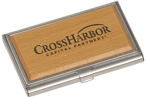 Silver & Wood Business Card Holder