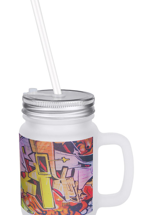 12 oz. Sublimatable Frosted Mason Jar with Lid & Straw