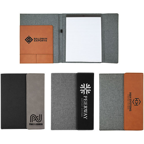 """7"""" x 9"""" Gray Laserable Leatherette / Black Canvas Small Portfolio with Notepad"""