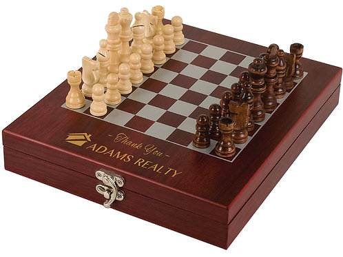 Engravable Rosewood Finish Chess Set
