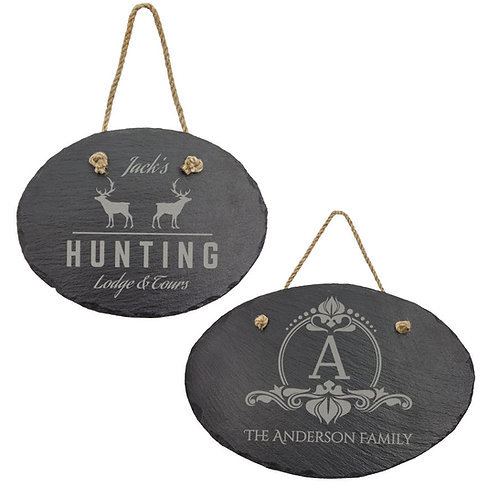 Slate Oval Decor with Hanging String
