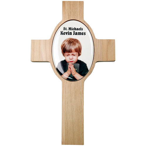 Wooden Cross w/Oval Recess & Sublimatable Tile