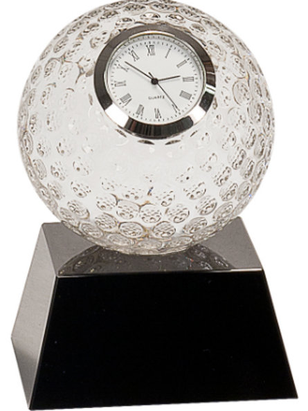 Crystal Golf Ball Clock with Black Base