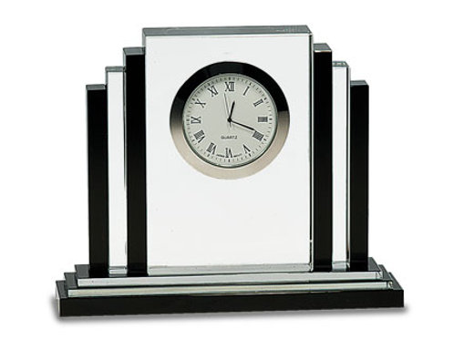 Crystal Clock with Black Crystal Trim