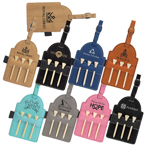 Leatherette Golf Bag Tag with Wooden Tees