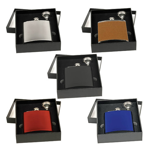 Stainless Steel Flask Gift Set in Black Box with Funnel