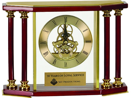 Executive 4-Pillar Rosewood Piano Finish Clock