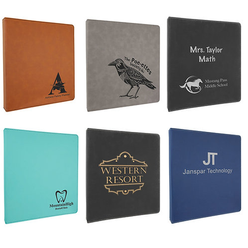 """0 1/2"""" x 11 1/2"""" Laserable Leatherette 3 Ring Binder"""