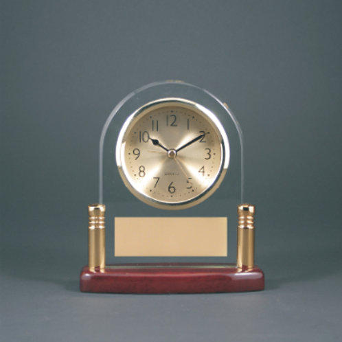 Rosewood Piano Finish Wood & Glass Clock with Metal Posts