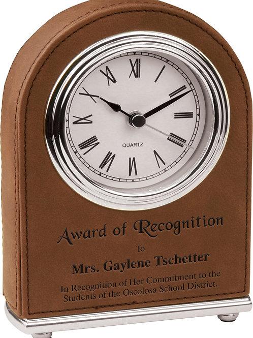 Dark Brown Laserable Leatherette Desk Clock