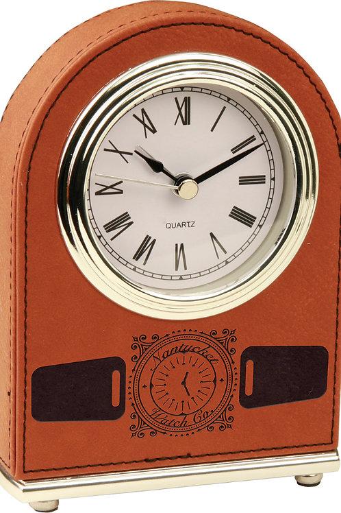 Rawhide Laserable Leatherette Desk Clock