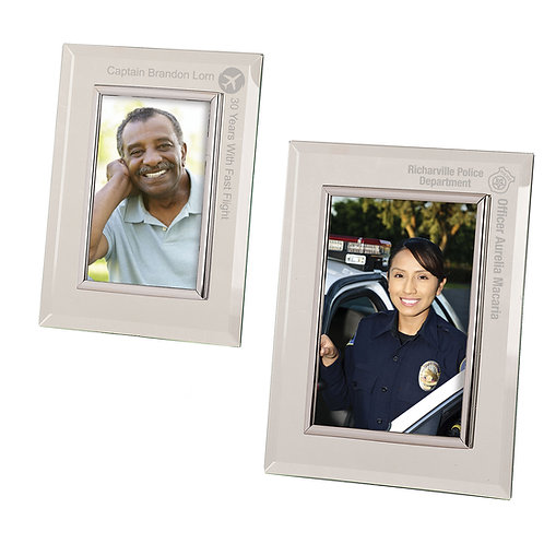 Clear Glass Mirror Picture Frame with Silver Trim