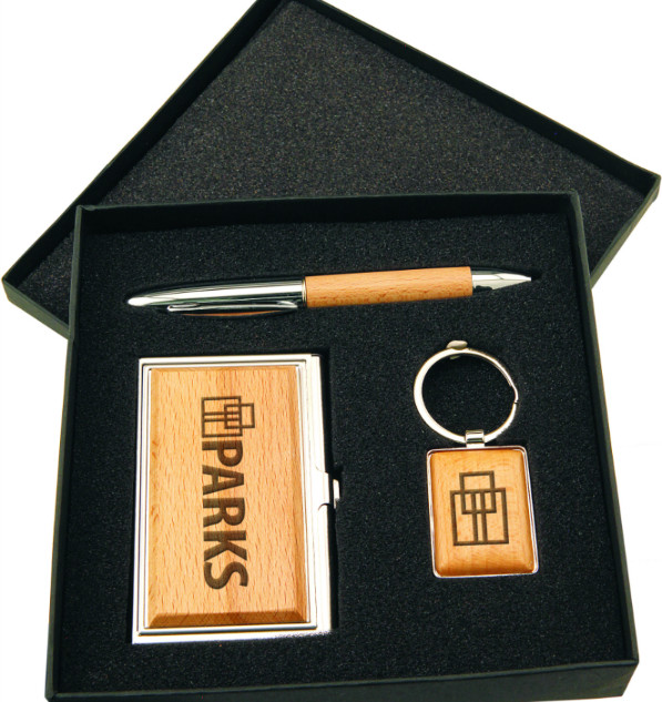Pen, Card Holder & Keychain Set