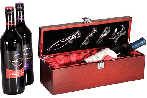 Single Wine Presentation Box with 4 Tools and Red Lining