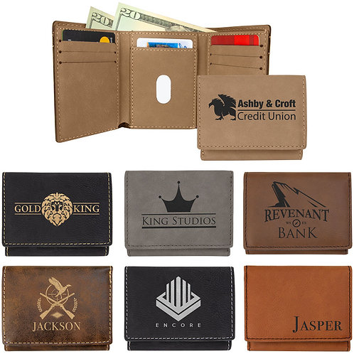 Laserable Leatherette Trifold Wallet