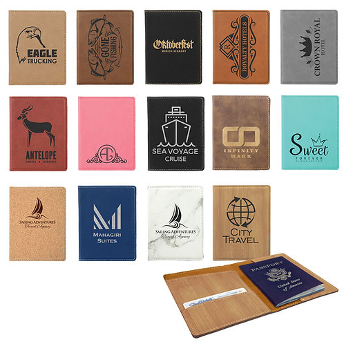 "4 1/4"" x 5 1/2"" Laserable Leatherette or Cork Passport Holder"