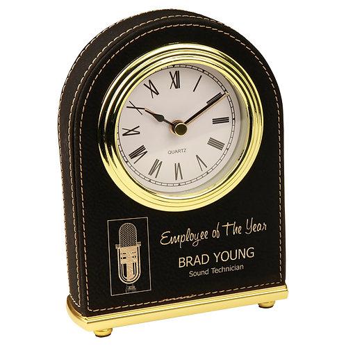 Black/Gold Laserable Leatherette Desk Clock