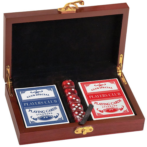 Personalized Rosewood Finish Card & Dice Set