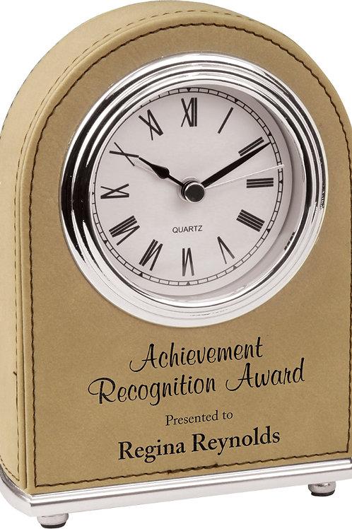 Light Brown Laserable Leatherette Desk Clock